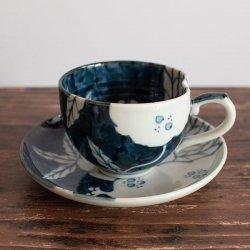 古染 柘榴文 一方押し珈琲碗皿 (コーヒーカップ)