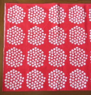 marimekko ヴィンテージ生地 PUKETTI  レッド 28×28cmのカット販売