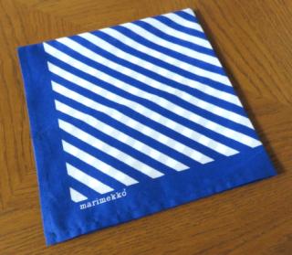 marimekko  ヴィンテージ スカーフ/ハンカチ「ストライプ:ブルー」