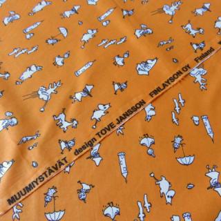 【SPプライス】ムーミン生地 MUUMIYSTAVATオレンジ 70×50cmのカット販売