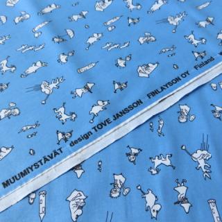 【30%OFF】ムーミン生地 MUUMIYSTAVATブルー 70×50cmのカット販売