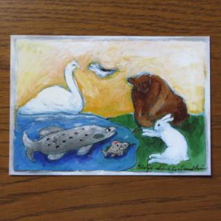 Helja Liukko Sundstrom ポストカード「ELAINTEN ILMASTOKOKOUS:動物たちの会議」