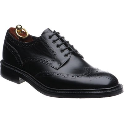 Loake Chester rubber-soled brogue- Black Calf