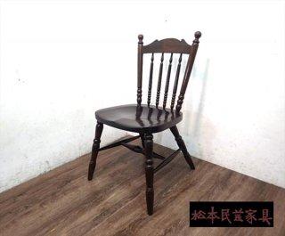 松本民芸家具 16型スピンドルチェア C ミズメザクラ 無垢●