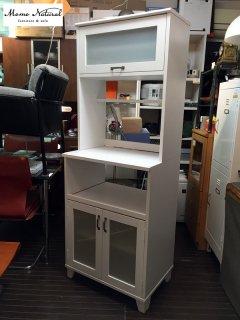 モモナチュラル Momo Natural ランド LAND カップボード 食器棚 W60 ホワイト レール付き ◎