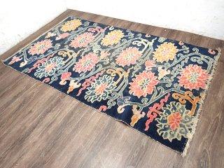 民族系ビンテージラグ ラグマット 絨毯 156x88cm ●
