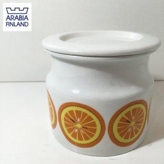 アラビア ARABIA ポモナ POMONA ジャムポット 蓋付 オレンジ ◎