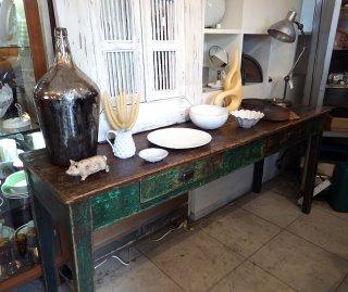 フランスアンティーク アトリエワーキングテーブル W188cm H.P.France購入品 ●