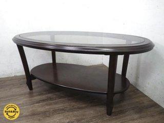 高級 maruni マルニ ローテーブル ガラス天板 オーバル型 ●