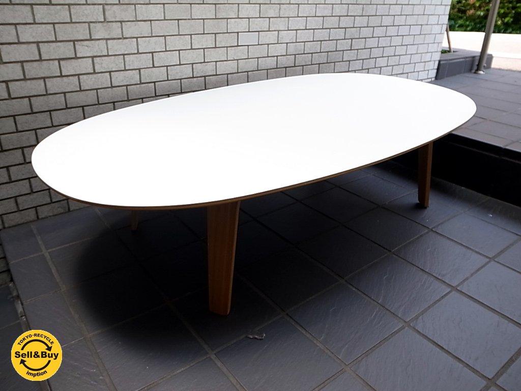 無印良品 MUJI 廃盤 座テーブル ホワイト メラミン天板 タモ材 積層合板 W:140タイプ ■