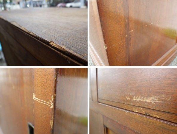 ジャパンビンテージ 古い木味のガラスキャビネット 食器棚 ◇