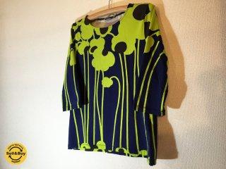 マリメッコ marimekko Puro / TENO 七分袖 カットソー ネイビー × ネオングリーン ◎