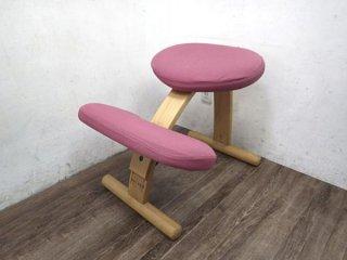 B ノルウェー Rybo バランス チェア イージー 学習椅子 グリーン (ピンク カバー) ●