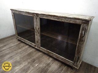 オールドメゾン OLD MAISON取扱 古材 シャビーペイント ガラスキャビネット 飾り棚 ●