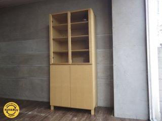 無印良品 MUJI / タモ材 組み合わせて使える 収納 ガラス扉 木製扉 付き キッチンボード 食器棚 展示品 ♪