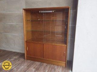 UK 英国 ビンテージ チーク材 ガラス キャビネット 食器棚 ♪
