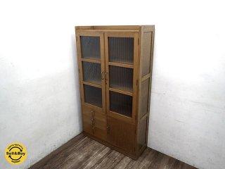 古い木味 波ガラス キャビネット / 食器棚 レトロビンテージ ●