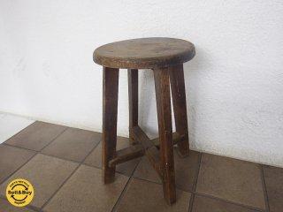 古い木味のスツール◇