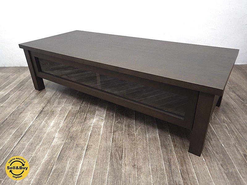 無印良品 MUJI タモ材 木製AVラック TV台 ブラウン w108cm ●