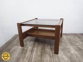 北欧スタイル ビンテージ チーク無垢材 ガラス コーヒーテーブル ●