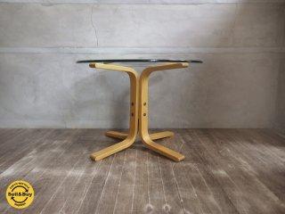 ノルウェー westnofa ウェストノーファ プライウッド × ガラストップ ラウンド テーブル φ60cm ♪