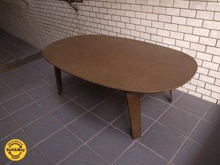 MUJI 無印良品 タモ材 座テーブル ブラウン プライウッド ローテーブル W:110タイプ  ■