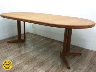 国産家具 ビンテージ 青林製作所 チーク無垢材 伸長式テーブル●