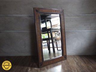 アジアン 古材 無垢材 ミラー 鏡 木味 ♪