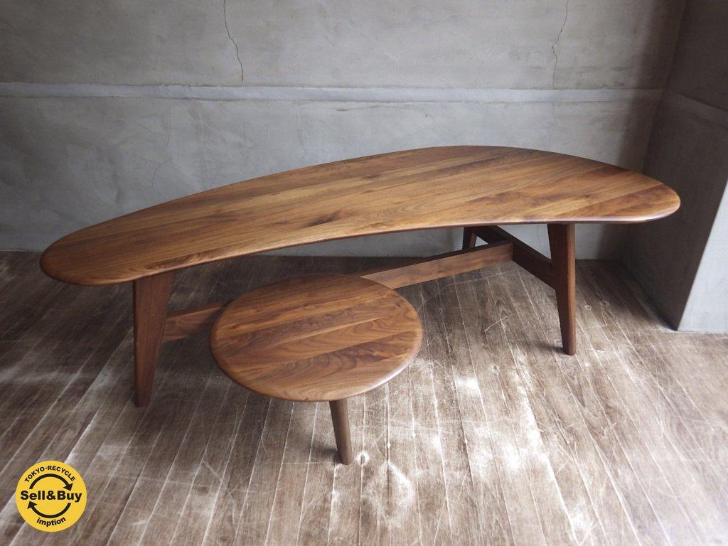 ウィールナット 無垢材 ローテーブル デザイン家具 ♪