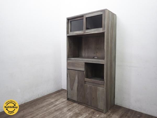 クラフト 古材風 無垢材 キッチンボード 食器棚 カフェ アトリエ ◇