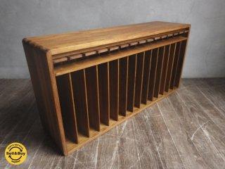 チーク材 木製 ビンテージ BOOKラック 収納 レトロ 壁掛け ♪