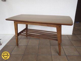 カリモク60 ウォールナット リビングテーブル Sサイズ デコラトップ◇