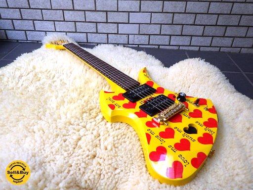 新品同様 Burny Yellow Heart Jr. hideモデル イエローハート アンプ内蔵 ミニギター YH-JR.■