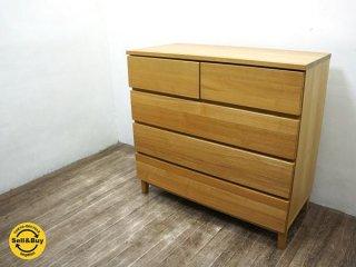 MUJI 無印良品 木製チェスト 4段ワイド タモ材 無垢材天板 ◇
