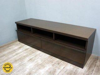 モダンデザイン 木製 AVボード TVボード w143cm ブラウン ●