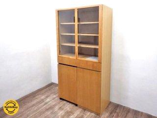 無印良品 MUJI 木製カップボード ワゴン付 タモ材 食器棚 ●