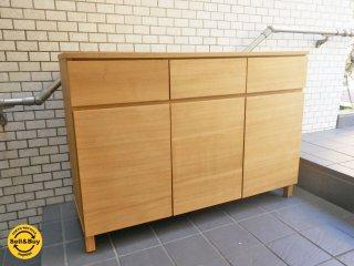 MUJI 無印良品 タモ材 木製収納 キャビネット サイドボード ナチュラル ■