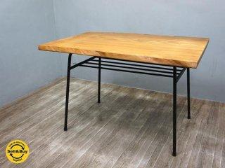 オーク材 耳付きクラフト無垢材天板 鉄脚テーブル カフェ 工業系 食堂  ●