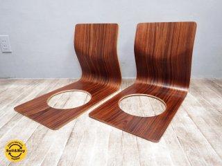 TENDO 天童木工 ローズウッド 座椅子 藤森健次 プライウッド 2脚 A ●