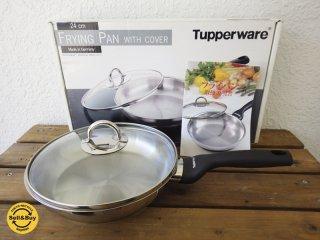 タッパーウェア Tupperware 高級 ステンレスフライパン FLYING PAN with COVER φ24cm 耐熱強化ガラス蓋付き ガス&IH、食洗機対応 ◇