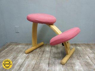 ノルウェー Rybo社 バランス チェア イージー 学習椅子 グリーン ピンク色カバー付き シミ有●