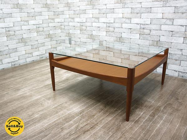 HIKE / ハイク 中目黒 ガラス×チーク『 BESPOKE Glass sofa table / ガラスソファテーブル 』北欧デザイン…