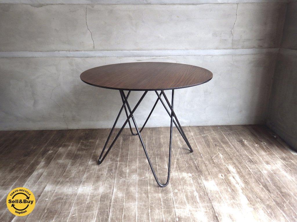 アイアン × ウッド ラウンド サイドテーブル 黒鉄脚 ♪