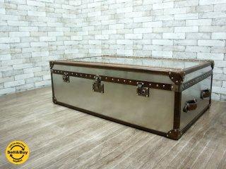 英国 HALO ハロ MAYFAIR コーヒーテーブル トランク Vintage Cigar & Brushed steel 廃盤希少 ●