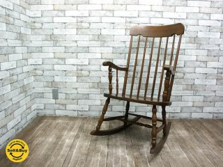 柏木工 KASHIWA ロッキングチェア 椅子 レトロ アンティーク調 ウィンザースタイル ●
