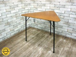 デンマーク チーク材プライウッド × アイアンレッグ トライアングル テーブル haluta取扱 ●