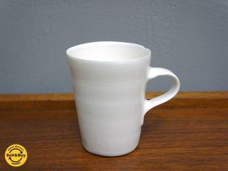 黒田泰蔵 白磁 マグ / コーヒーカップ a 僅かなチップ有 ●