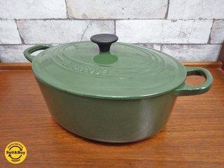 ルクルーゼ LECREUSET ココットロンド オーバル 両手鍋 廃盤カラー オリーブグリーン ●