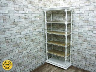 メゾンファニチャーシリーズ And furniture フレンチシャビーシック 5段シェルフ ラック ホワイト ペイント ●