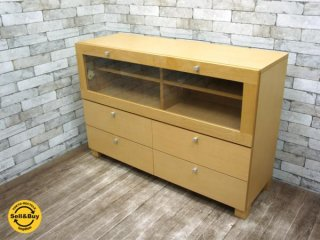 フランフラン Francfranc 木製キャビネット 収納棚 サイドボード リビングボード ●
